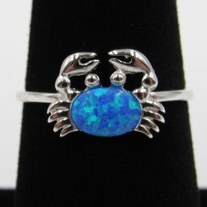 Sterling Silver Cute Blue Opal Crab Band Ring